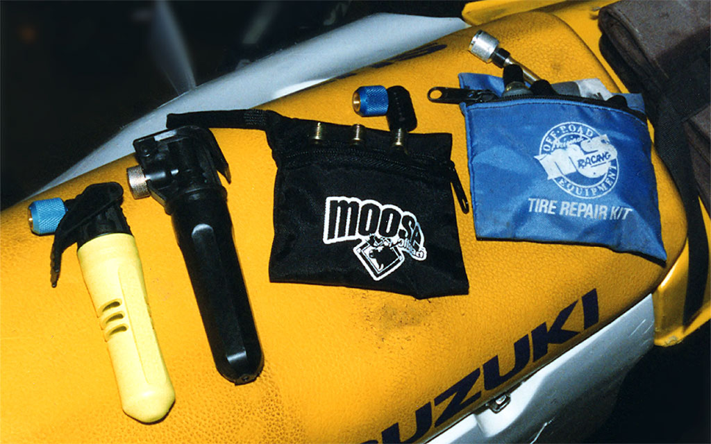 From left to right: Moto Pump Ultra, Superflate, Moose Tire Inflator, MSR Tire Repair Kit